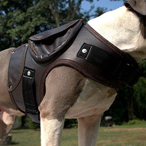 Leather Dog Walking Coat Jacket Vest Anti Pull Harness Dark Brown