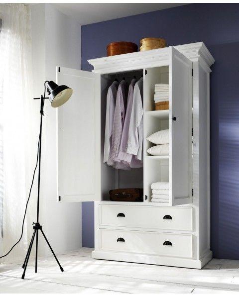 Armoire Penderie Bois Acajou Blanc Mobilier De Salon Armoire En
