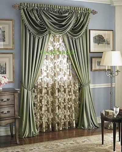 Hilton Window Curtain Waterfall Fringed Valance Treatments Available In Many Colors Sage Single