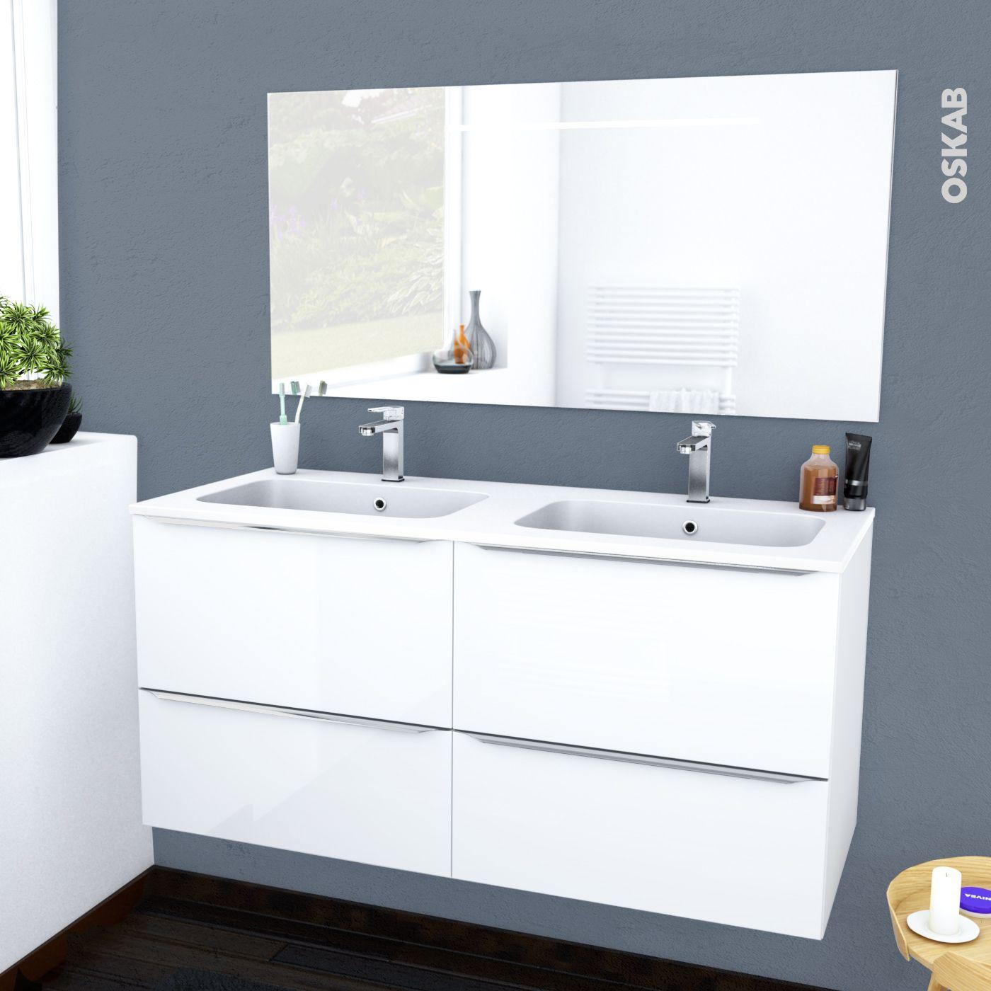 Miroir Eclairant Salle De Bain ensemble salle de bains meuble bora blanc plan double vasque