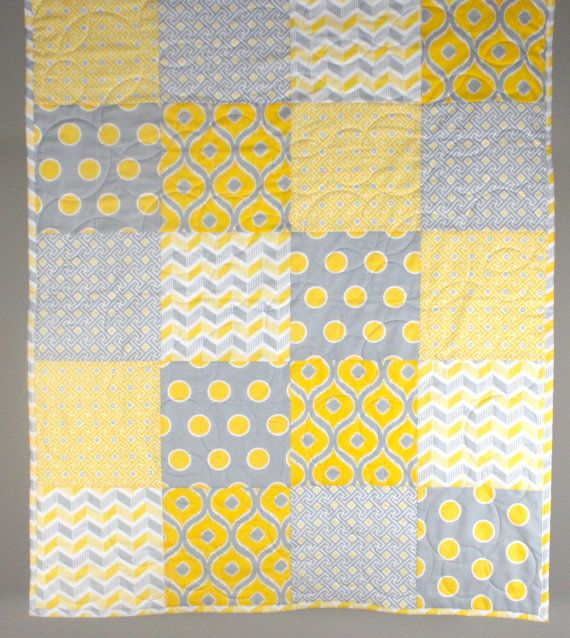 Yellow and Grey Gender Neutral Patchwork Quilt by bordercityquilts