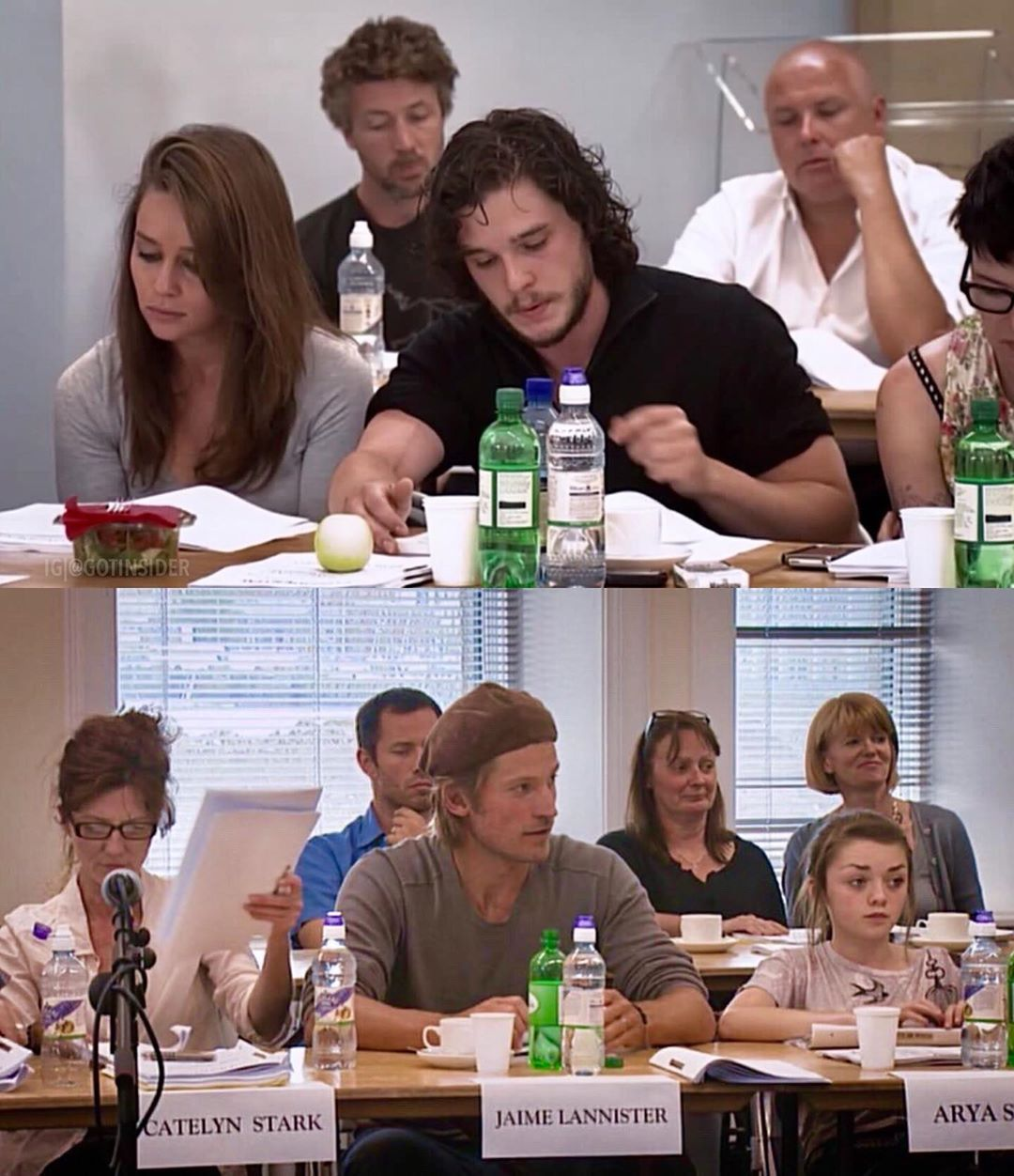 The Cast At The Very First Table Read In 2010 For Game Of Thrones Season 1 Via The Last Watch Game Of Thrones Cast Game Of Thrones Sansa Hbo Game Of Thrones