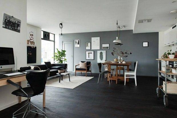 Parquet Noir Et Mur Gris Decoration Salon Sol Fonce Couleur Mur Salon Deco Salon