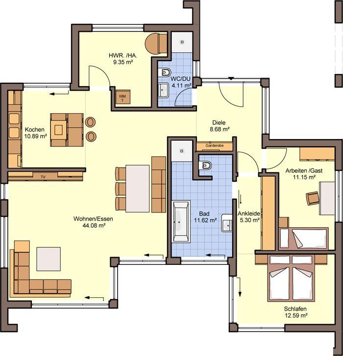 Neubau Einfamilienhaus Flachdach: Grundriss Erdgeschoss: Büdenbender Hausbau