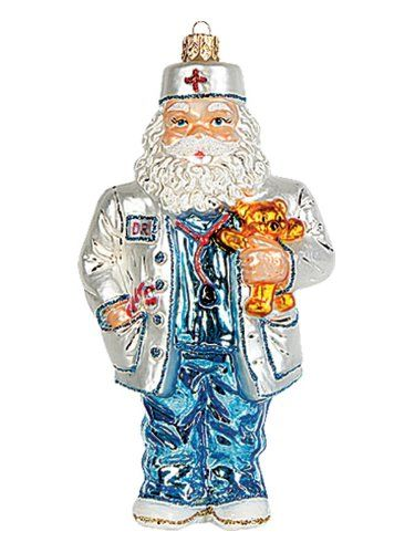 Medical Doctor Santa Claus Polish Glass Christmas Ornament Tree - polish christmas decorations