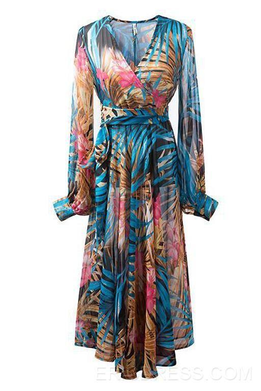 0b763b5befc6 Ericdress V-Neck Long Sleeve Floral Print Maxi Dress Maximum Style ...