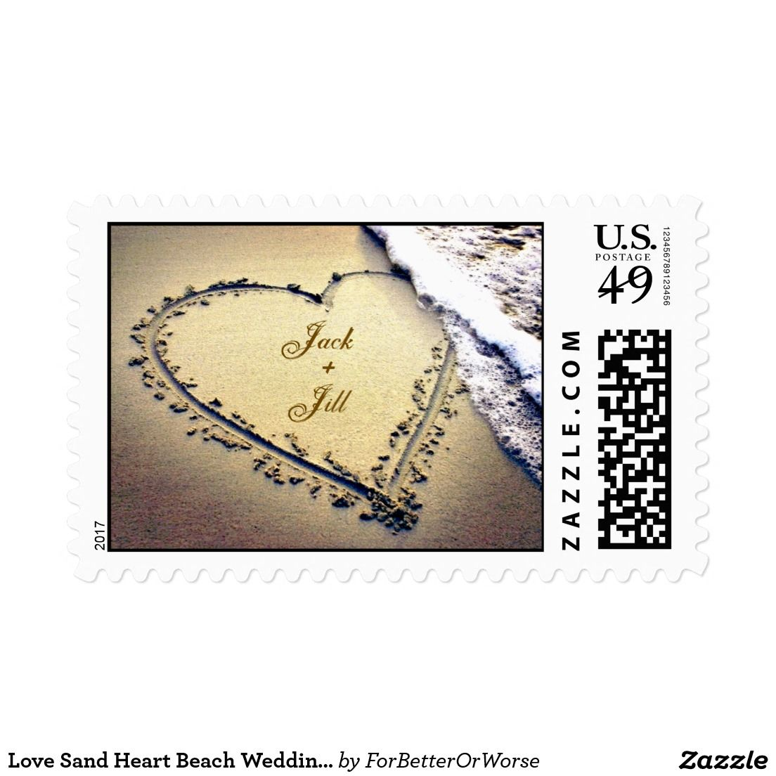 Love Sand Heart Beach Wedding Invitation Stamp Beach Wedding
