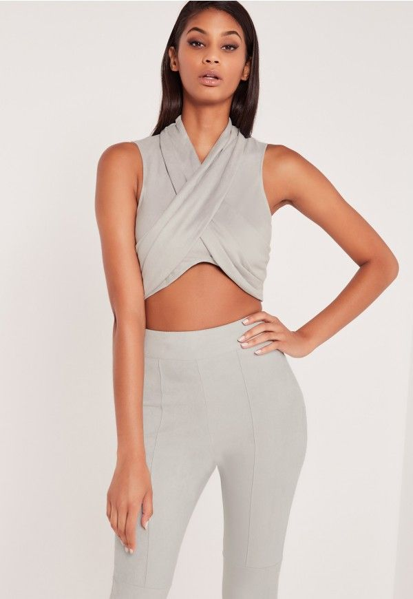 00ba5a3f039b84 Missguided Carli Bybel Sleeveless Jersey Crop Top ($16) ❤ liked on Polyvore  featuring tops, grey, round neck top, stretchy crop to…