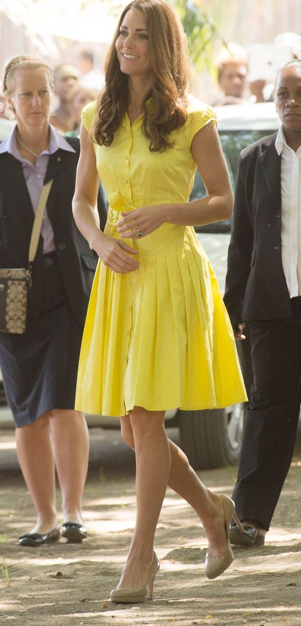 Duchess of Cambridge Kate Middleton wears a yellow Jaeger shirt dress  during 2012 royal tour 57997e80b