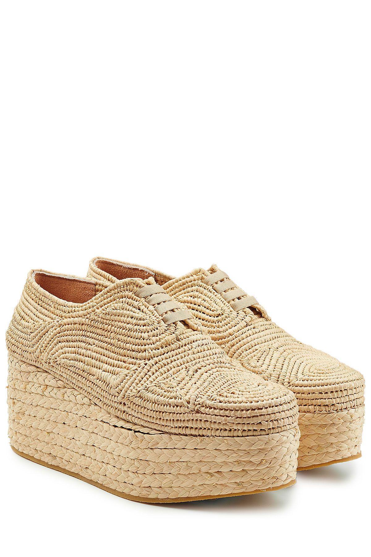 Chaussures à lacets à plateforme en raphia de ROBERT CLERGERIE | La mode de  luxe en