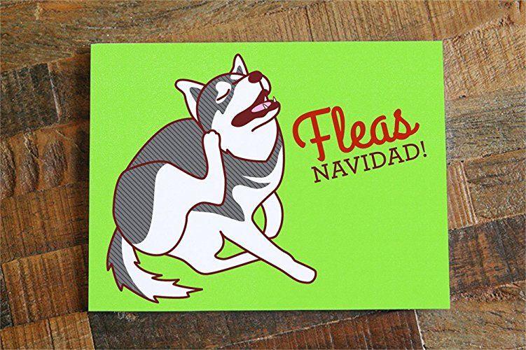 Funny dog christmas card fleas navidad dog holiday