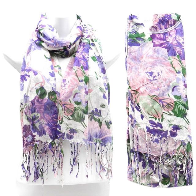 Beautiful Purple Flowered Scarf Scarve New $22.00