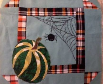 https://flic.kr/p/dnXEeu | Once In A Blue Moon my Charlotte's Keeping Watch block from Jovita Goldschmidt  and Quilting Gallery Glorious Autumn Block Party 102612 variation 1
