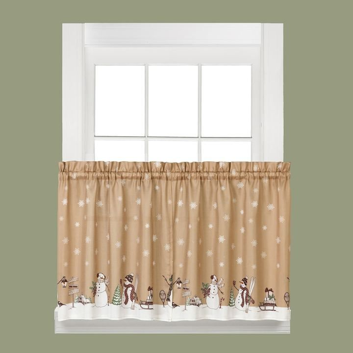 Saturday Knight, Ltd. Aspen Holiday Snowman âu20acu2039Tier âu20acu2039Kitchen Curtain  âu20acu2039Set, Beig/Green (Beig/Khaki) | Knight, Tier Curtains And Products