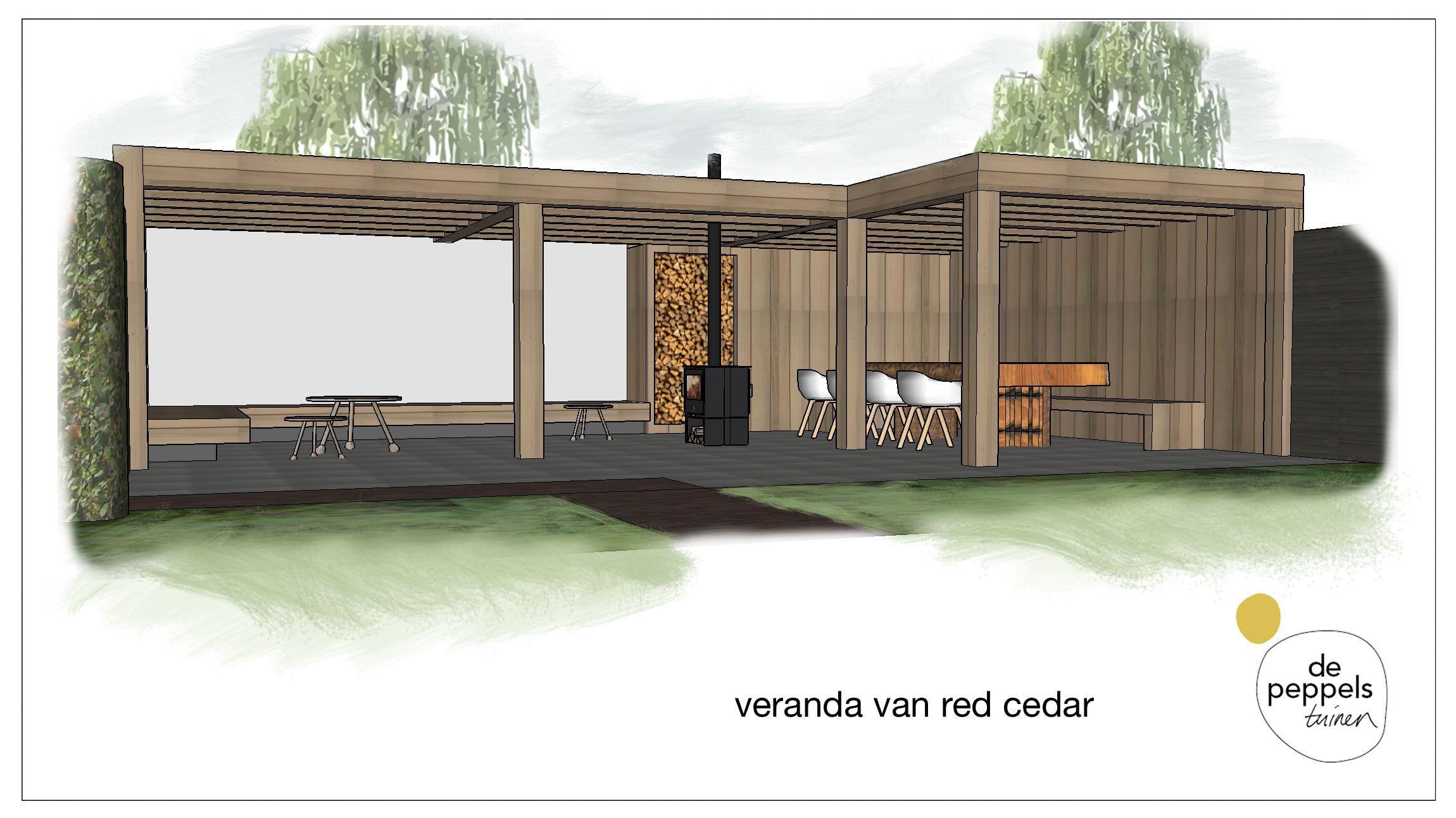 Houten veranda van red cedar tuin pinterest veranda for Tuinarchitect modern strak
