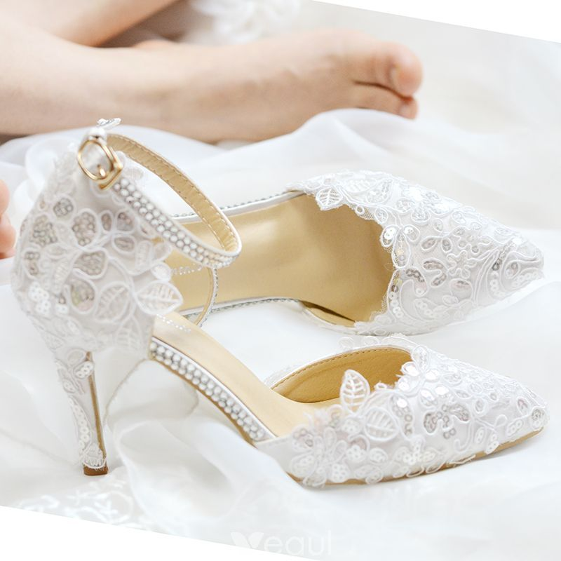 6ac976bd7ea5 Chic   Beautiful White Wedding Shoes 2019 Lace Sequins Ankle Strap 8 cm  Stiletto Heels Pointed Toe Wedding High Heels