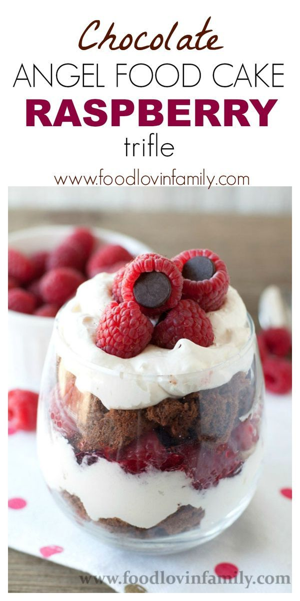 You'll love this delicious and simple chocolate angel food cake raspberry trifle!