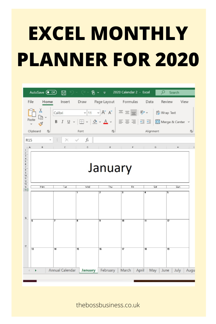 Excel 2020 Calendar 2 The Boss Business in 2020