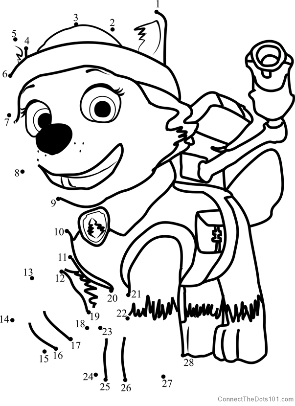 Everest Dot To Dot Printable Worksheet Connect The Dots Dot Worksheets Paw Patrol Coloring Paw Patrol Coloring Pages