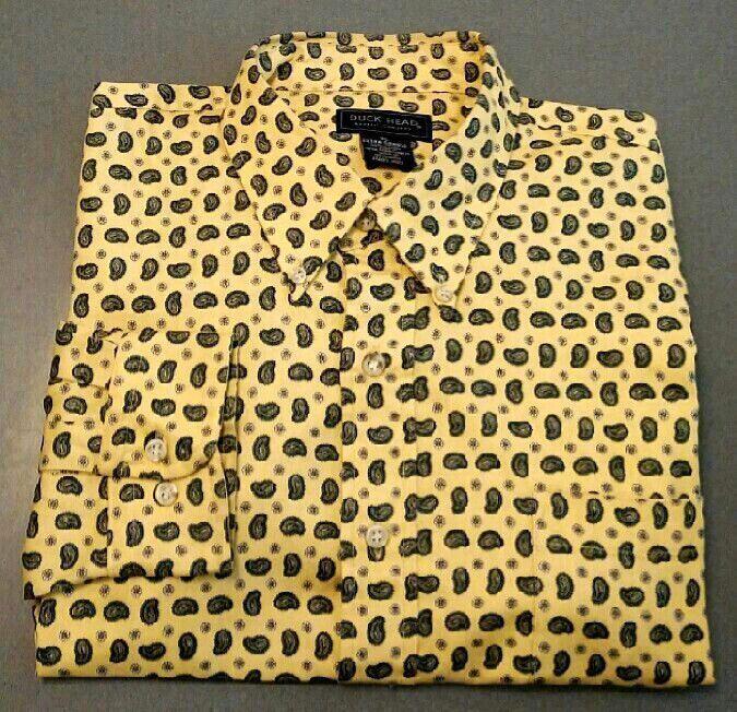 New- Duck Head-Yellow Paisley,100% Cotton,BD Fashion Shirt- size XL