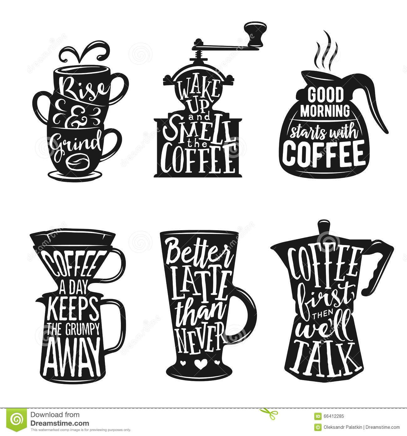 Coffee Quotes Lettering Badge Style Stock Vector