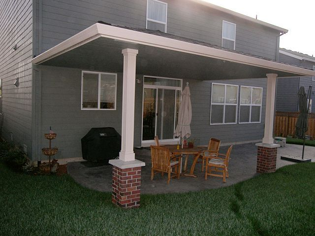 Delightful Hipped Patio Cover, Wood Wrapped Posts With Brick Column Bases, Flat  Ceiling Soffit U2013 Painted