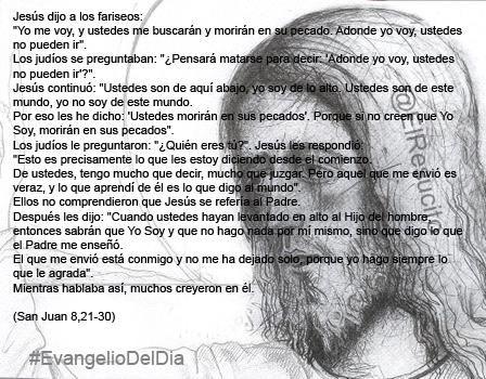 """#EvangelioDelDia ... """"Cuando ustedes hayan levantado en alto al Hijo del hombre, entonces sabrán que Yo Soy"""""""