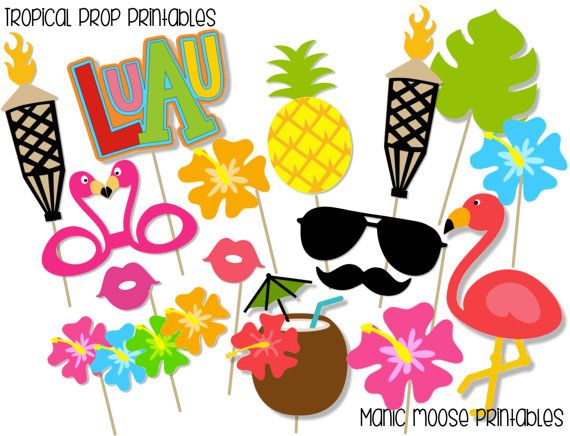 Tropical Themed Party Ideas Free Printables: Printable Tropical Party Photo Booth Props