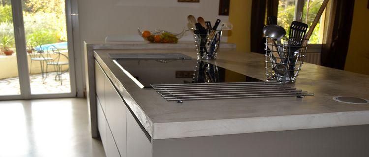 faire un plan de travail en béton ciré dans la cuisine   beton