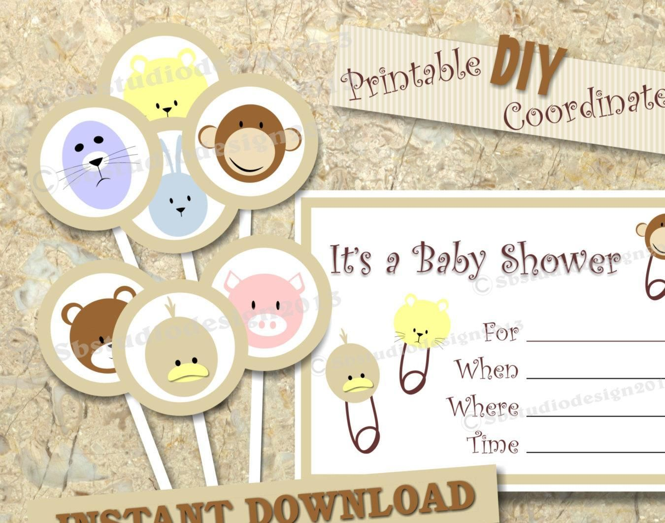 Baby Shower cupcake topper and invitation set DIY printable - http://babyshowercupcake-toppers.com/baby-shower-cupcake-topper-and-invitation-set-diy-printable/