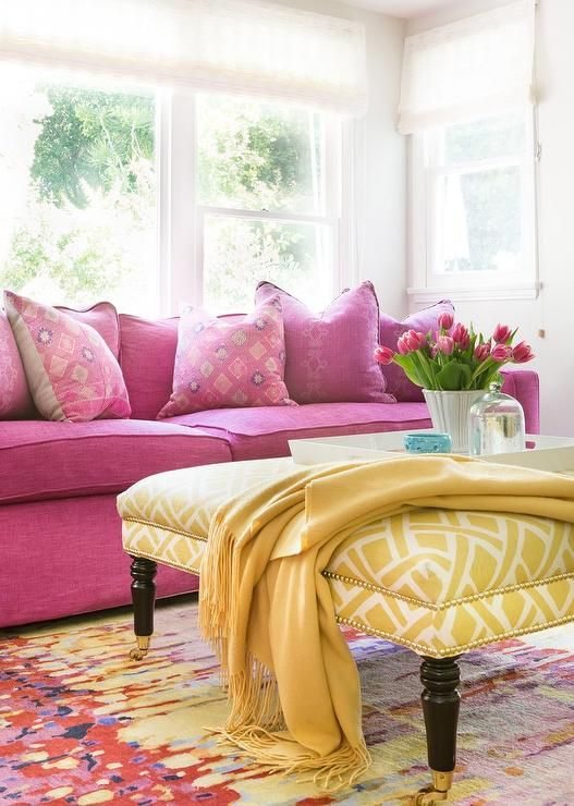 Packed with color, this contemporary living room fitted with a hot ...