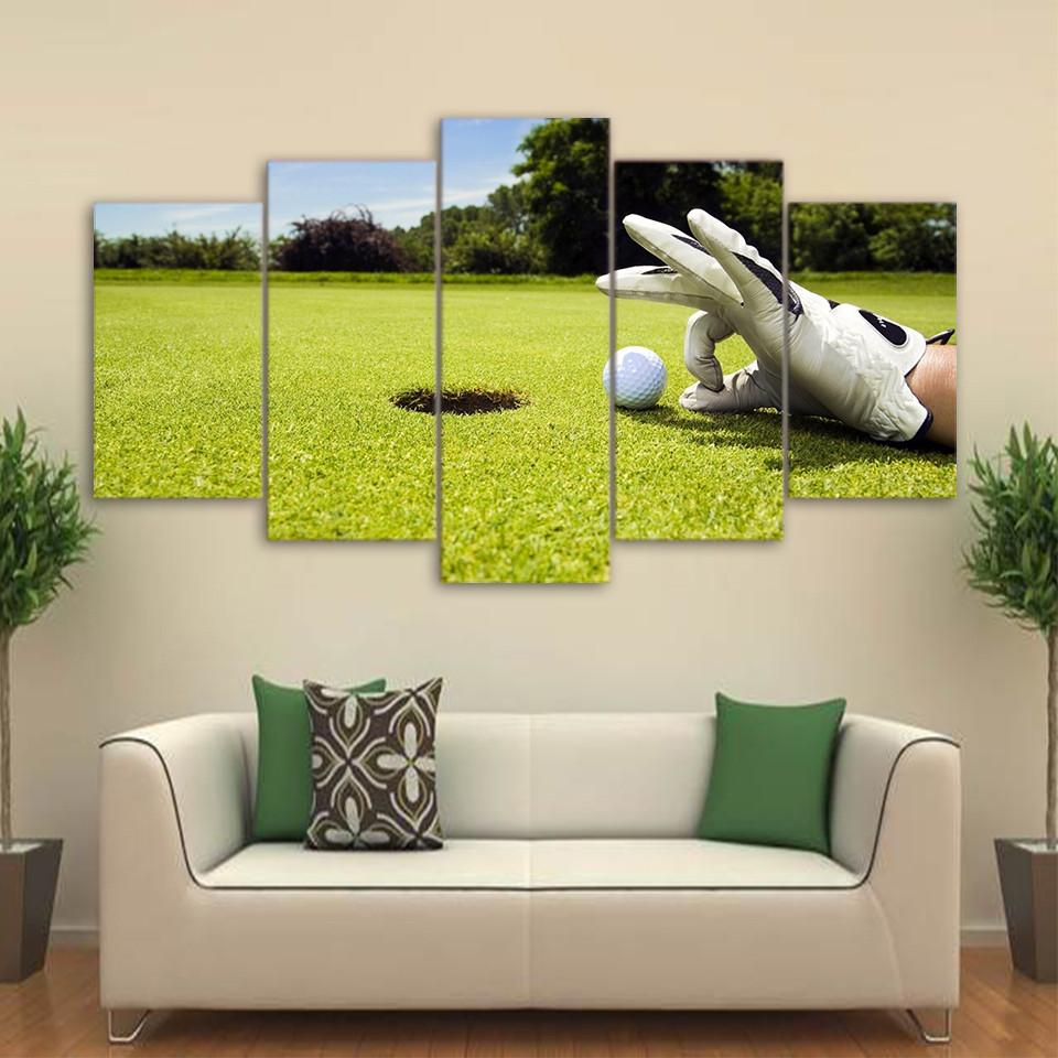 5 Piece Canvas Art Golf Course Painting Framed Wall Picture | Wall ...