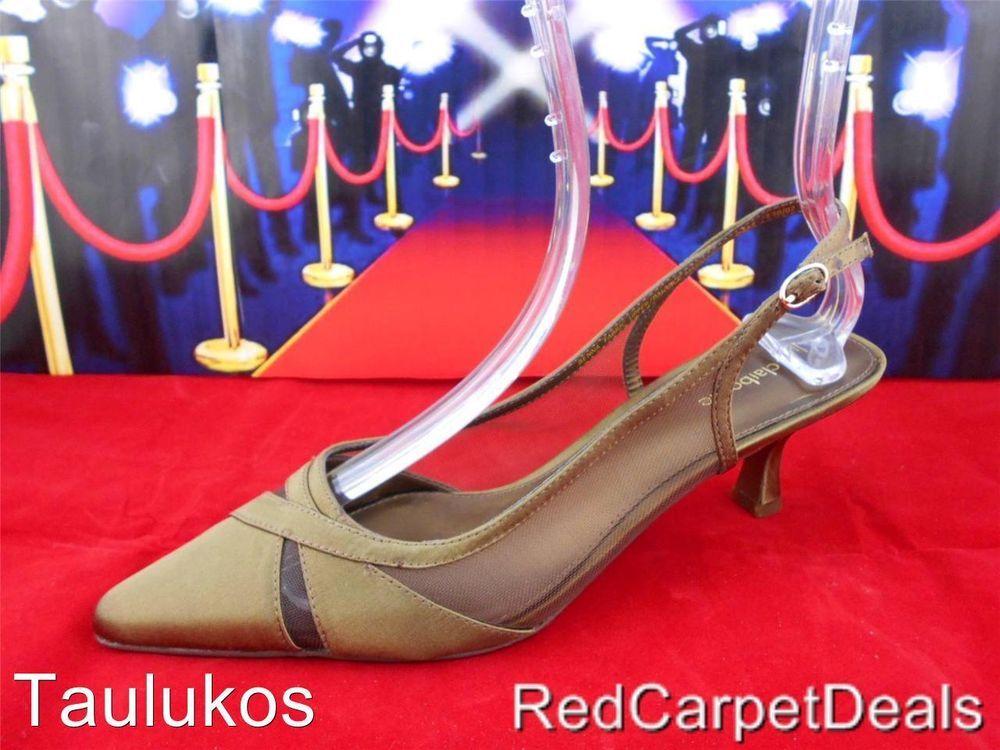 d410cf87bdf Womens shoes LIZ CLAIBORNE Moss Green Fabric Slingback Kitten Heel Pointy  8.5 M
