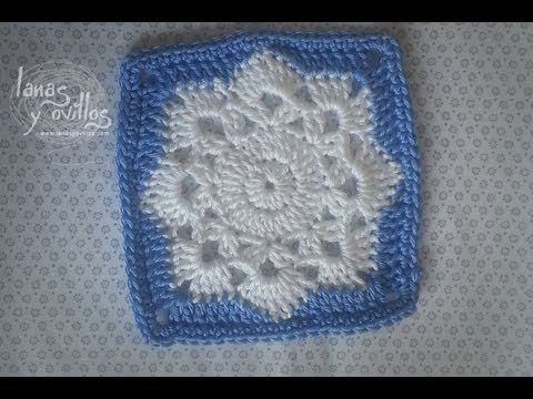 Tutorial Snowflake Granny Square in SPANISH. but she does the ...