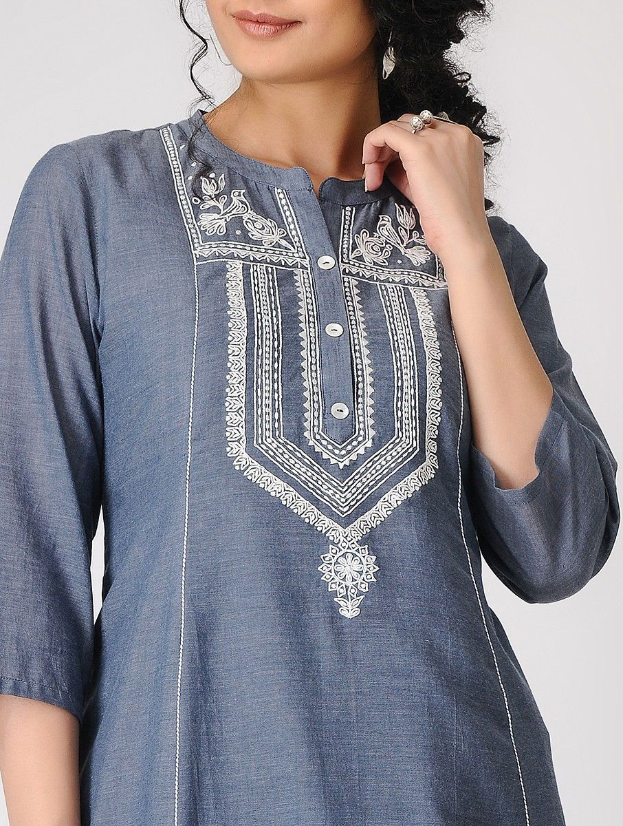 f4c1a6db49d Buy Blue Hand Embroidered Cotton Chambray Kurta with Slip (Set of 2) Women  Kurtas