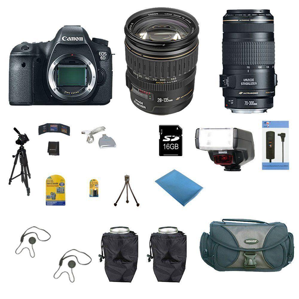 Canon Eos 6d Digital Camera Body With Canon 28 135mm 70 300mm Lens Package New Canon Eos Digital Camera Nikon Dslr
