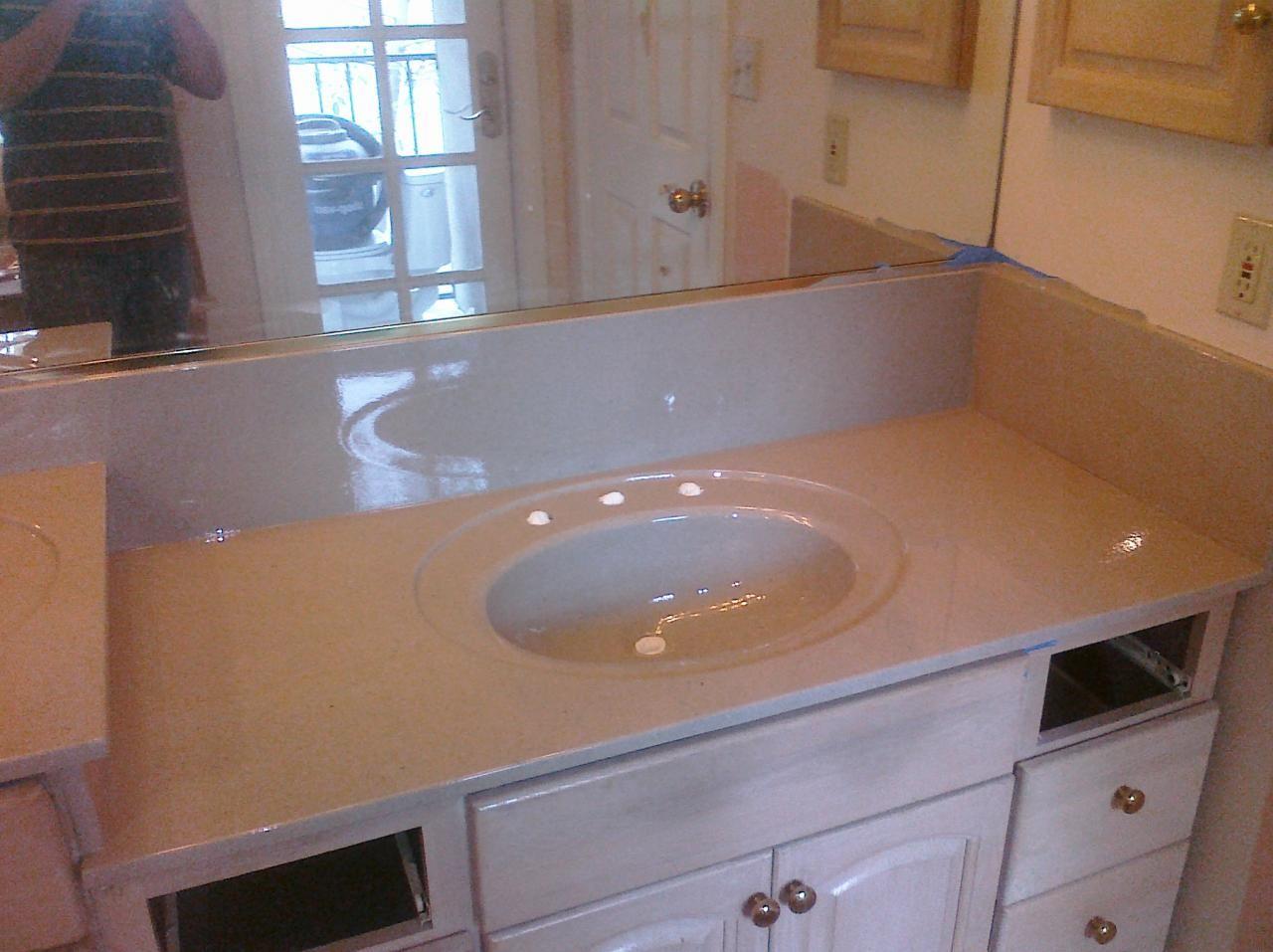 PKB Reglazing : Cultured Marble Countertop U0026 Sink Combo Reglazed Moonstone  Speckled