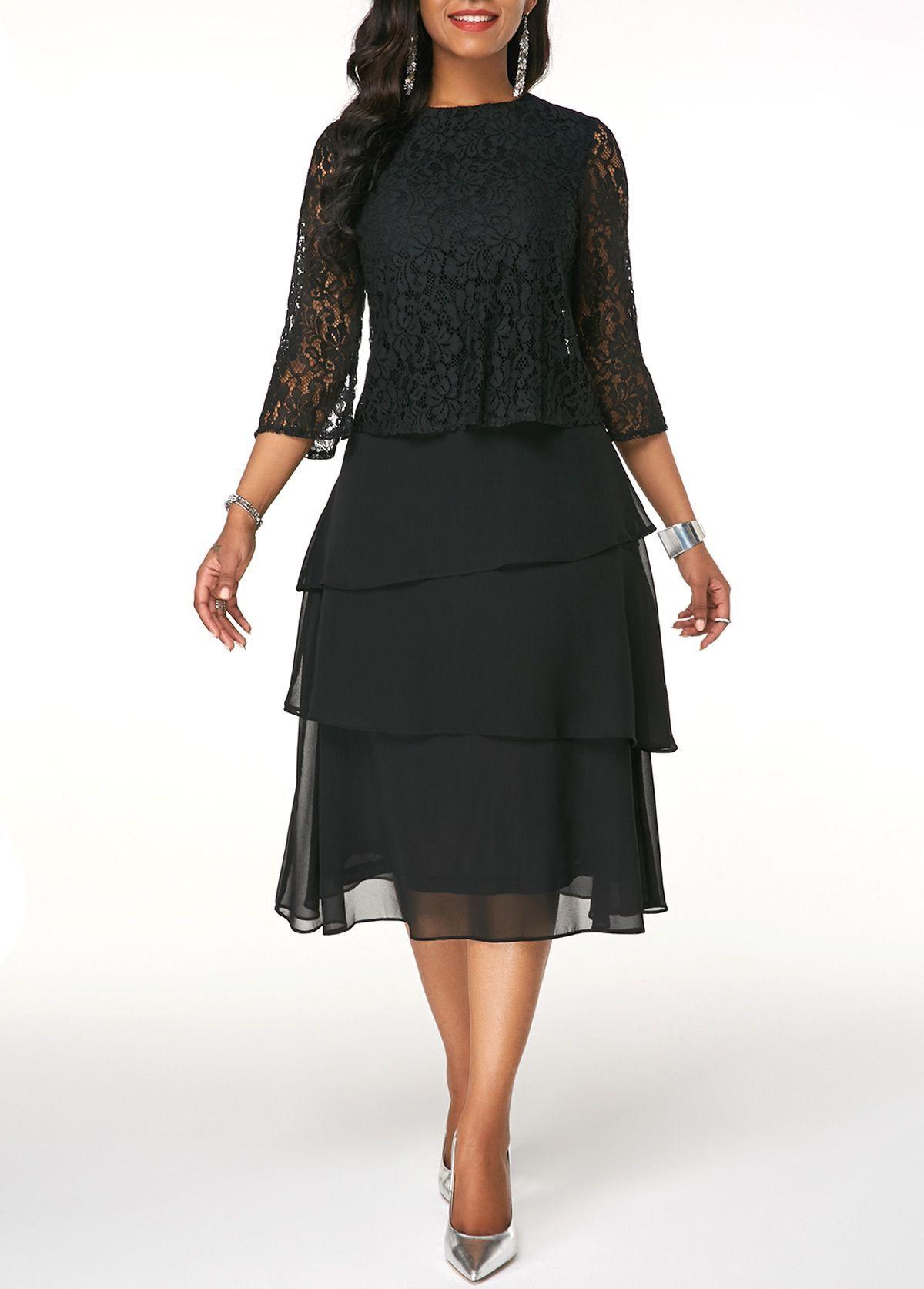 Three Quarter Sleeve Black Layered Chiffon Dress Rotita Com Usd 33 63 Chiffondress Layered Chiffon Dress Half Sleeve Dresses Chiffon Dress [ 1674 x 1200 Pixel ]
