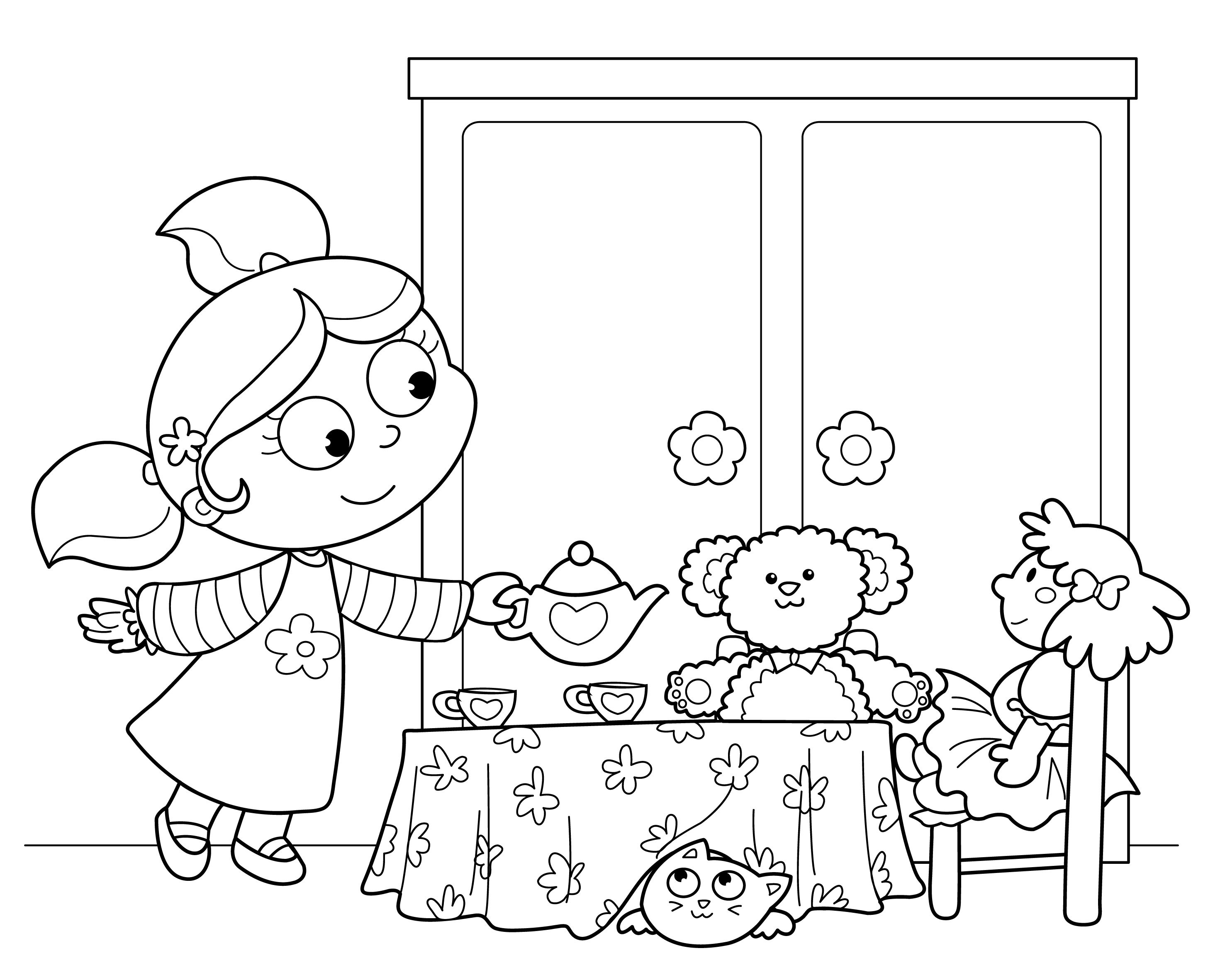 american girl tea party ideas kids tea party birthday coloring page kiboomu kids songs - Princess Tea Party Coloring Pages