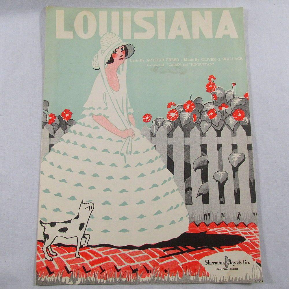 Louisiana Sheet Music Song Vintage 1920 Frame Cover Art