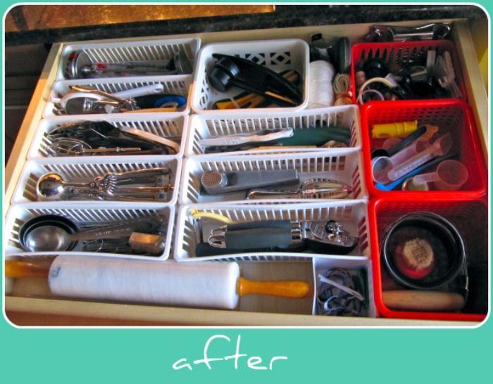 Organized junk drawer with dollar baskets