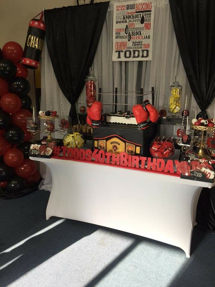 Boxing Theme Birthday Party Dessert Table And Decor Extraordinary Boxing Party Theme Decorations