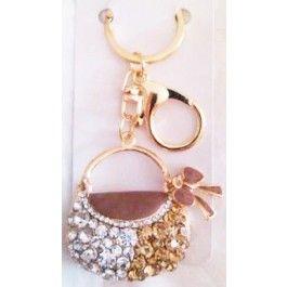 Chaveiro de Bolsa Dourada com Pedras