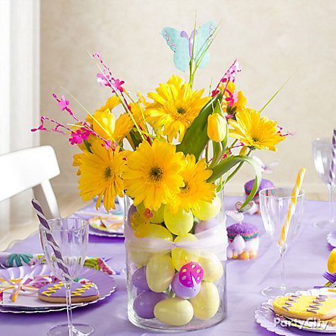 purple yellow and magenta easter decorating ideas pretty purple tablescapes party city - Spring Party Decorating Ideas