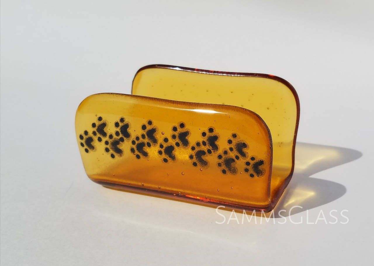 Fused glass puppy paw print business card holder in amber by fused glass puppy paw print business card holder in amber by sammsglass on etsy reheart Image collections