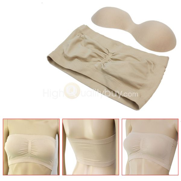 Women Ladies Strapless Padded Cupped Bra Bandeau Tube Top Removable Pads New