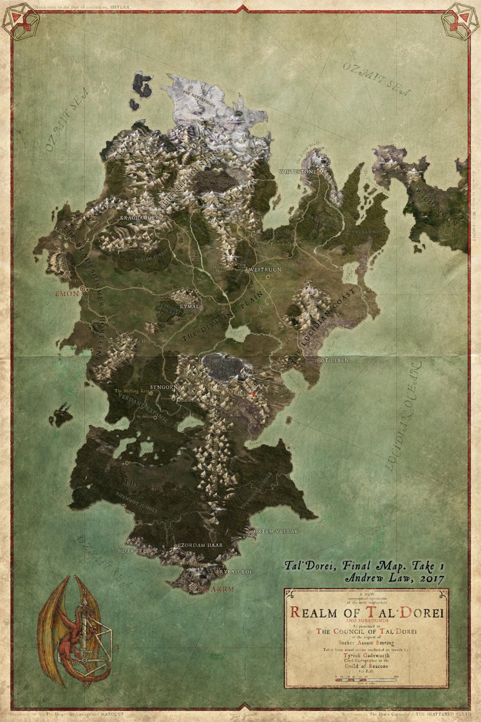 This is the Overall map of the continent of Tal'dorei, on the
