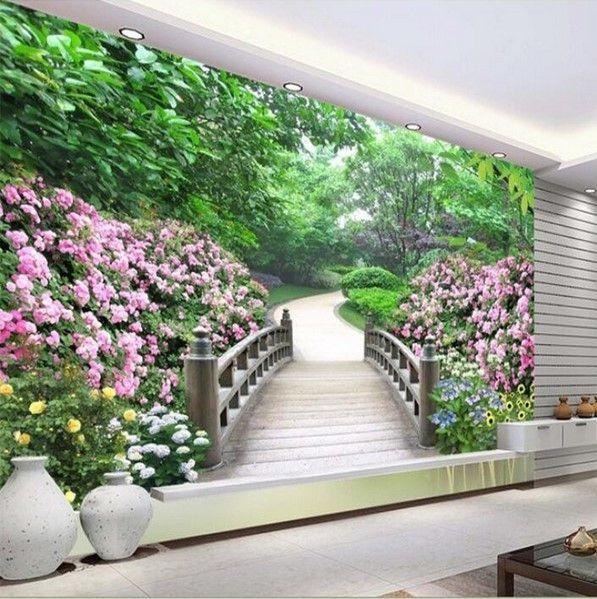 3d Park Garden Flowers Scene Landscape Wallpaper Landscape Wallpaper Modern Landscaping Flower Landscape