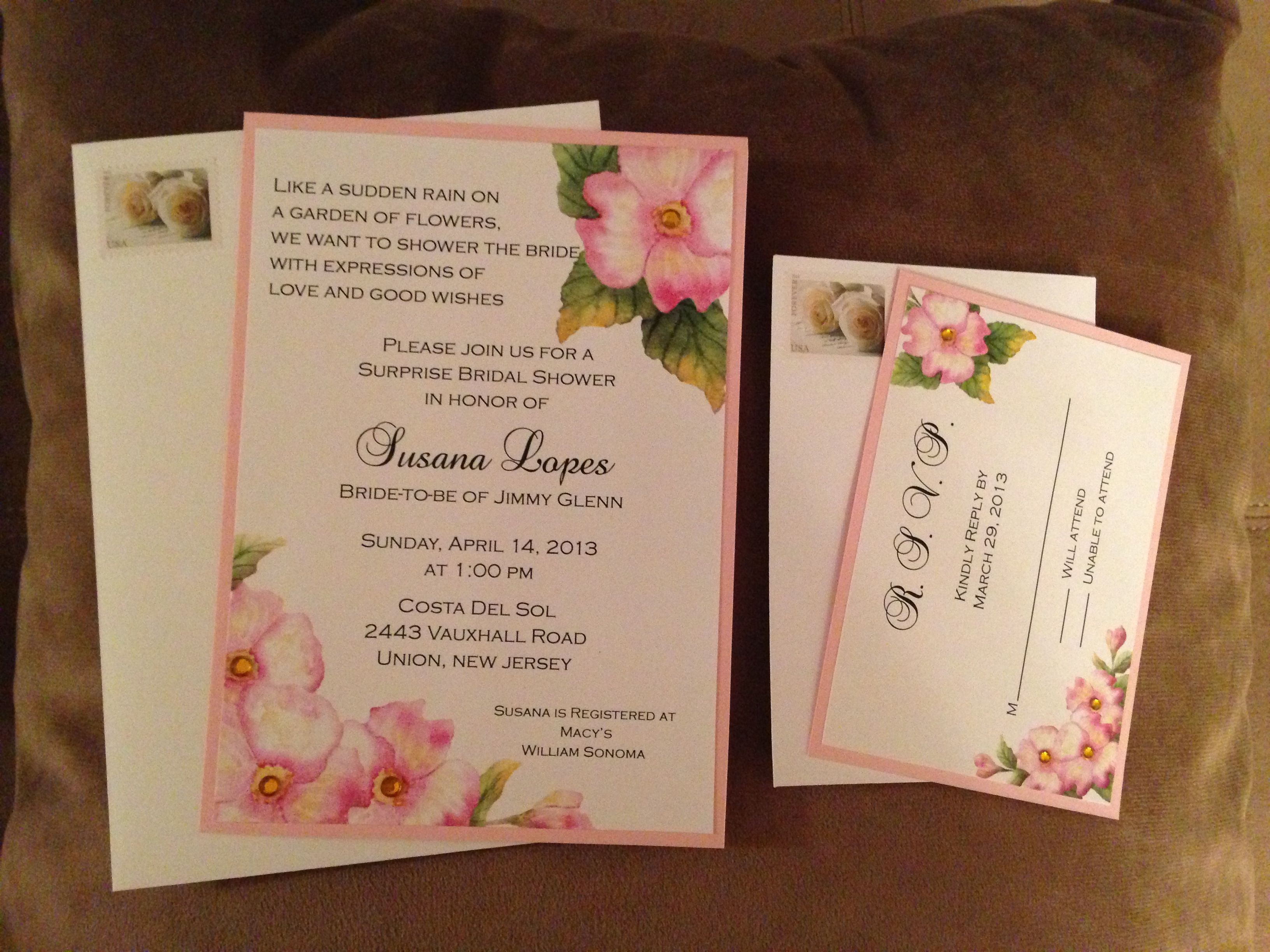 Garden Themed Bridal Showers Invitation With Matching