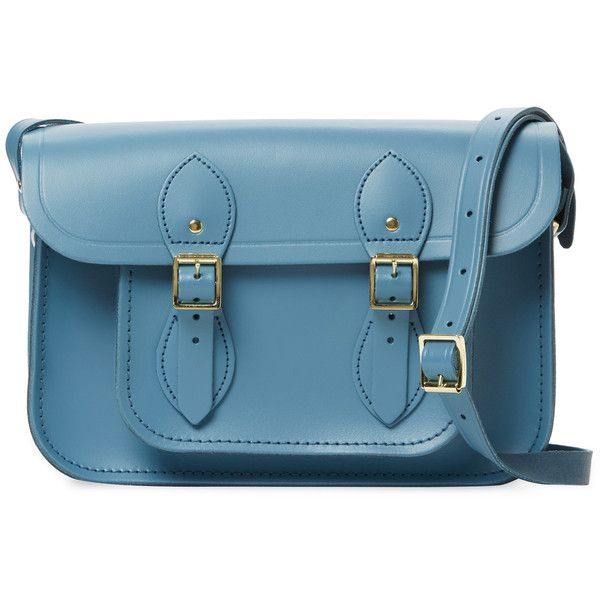 """The Cambridge Satchel Company Women's Small Leather 11"""" Satchel - Blue (£69) ❤ liked on Polyvore featuring bags, handbags, blue, leather satchel, blue leather purse, real leather handbags, leather flap handbag and satchel handbags"""